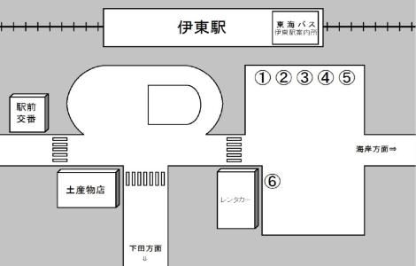 発着場所 伊東駅 東海バスセンター8番線